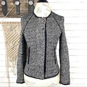 Zara Basics Tweed blazer faux leather trim